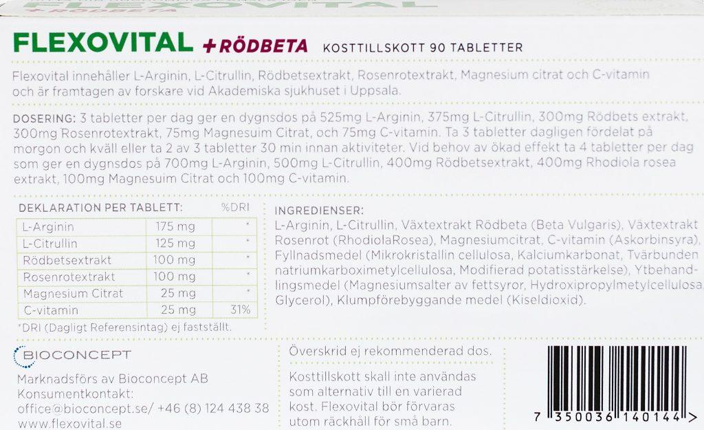 Vanliga frågor om Flexovital+Rödbeta som innehåller L-Arginin